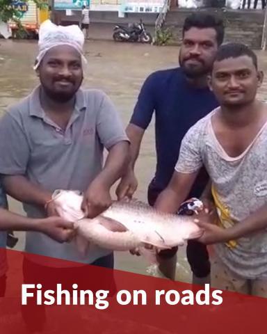 People fish on roads as lakes and streams overflow in Telangana's Nirmal