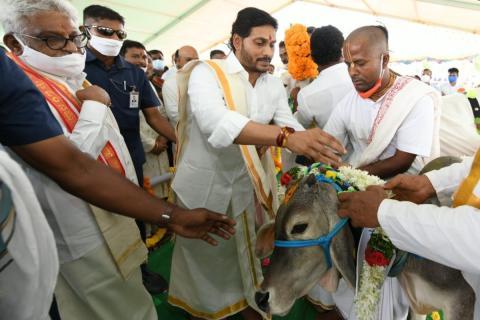 CM YS Jagan takes part in cow puja event at Narasaraopeta of Guntur
