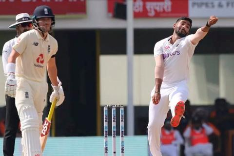 Jasprit Bumrah bowling in the first test match against England in Chennai.