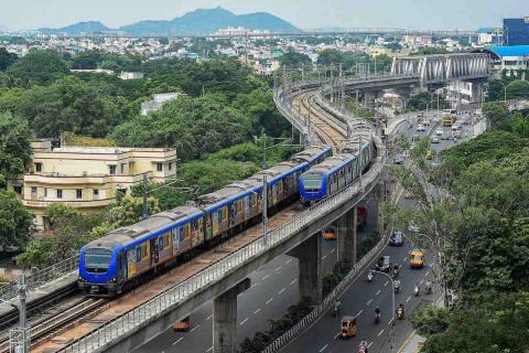 Chennai Metro trains whizzing near Chennai Airport