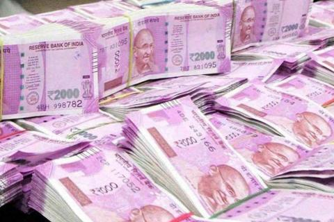 Bundles of Indian currency for Rupees 2000