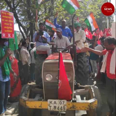Farmers hold tractor rallies across south India against farm laws