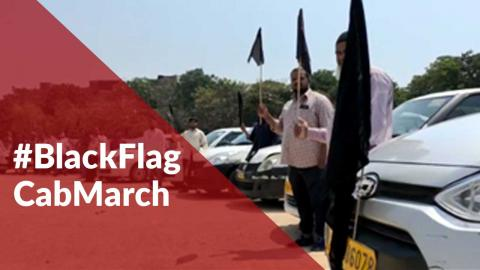 Thousands of Telangana taxi drivers join #BlackFlagCabMarch protest in state