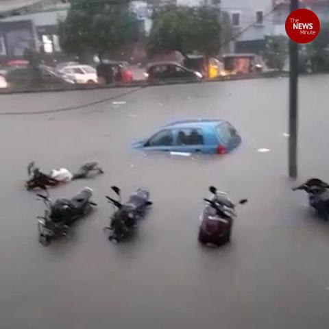 Sudden downpour in Hyderabad inundates roads, submerges vehicles