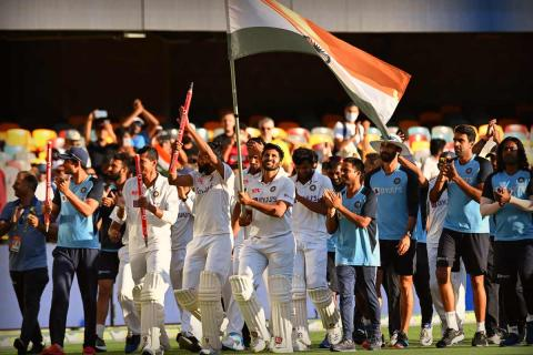 Indian cricket team celebrating their victory over Australia after the fourth test match at Gabba, Brisbane and clinching Border-Gavaskar Trophy