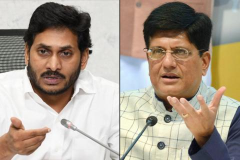 Andhra Pradesh CM Jagan Reddy on the left and Union Minister for Railways Piyush Goyal on the right