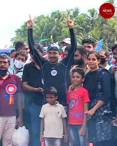 Kerala man sets Guinness world record for swimming with hands, legs tied