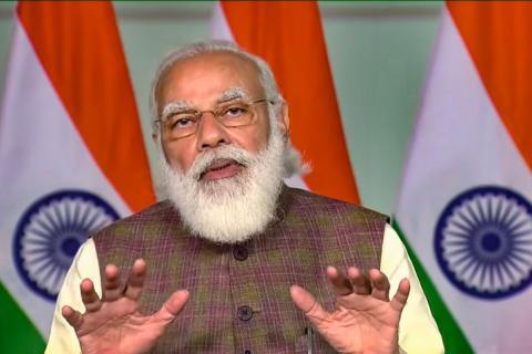 Modi speaking to the media