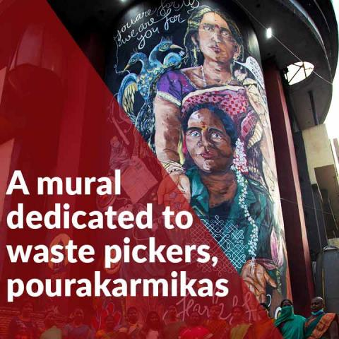 This building in Bengaluru features a huge mural dedicated to waste pickers, pourakarmikas