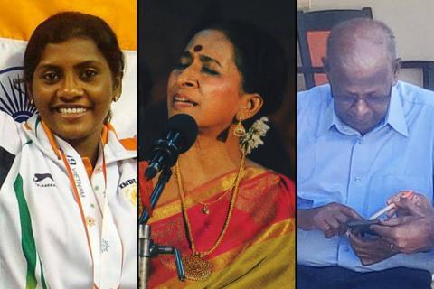 P Anitha, Bombay Jayashree and Gearman Subramanian who have been conferred Padma Shri
