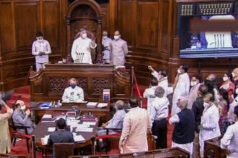 Ruckus in Rajya Sabha over the eight MPs being suspended, Opposition standing in the well yelling at speaker