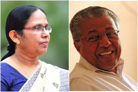 Collage of Kerala Chief Minister Pinarayi Vijayan and Health Minister KK Shailaja