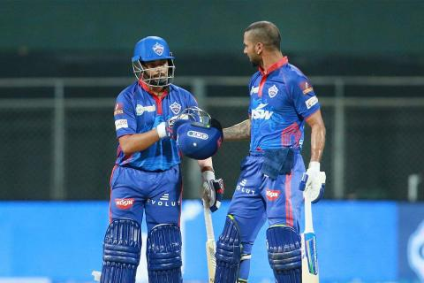 Cricketers Prithvi Shaw and Shikhar Dhawan while in the match in blue jerseys
