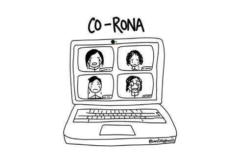 "An illustration from the web comic series Sanitary Panels showing a computer with the words ""Co-Rona"" above"