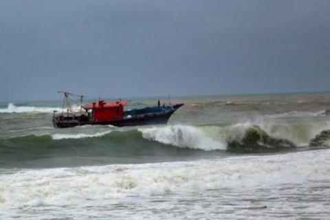 A boat in a sea