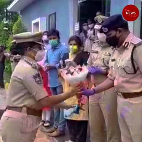 Rachakonda cops returning to duty after COVID-19 recovery welcomed in grand manner