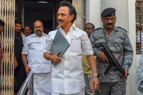 A file picture of DMK president Stalin and DMK general secretary Duraimurugan coming out of the Assembly