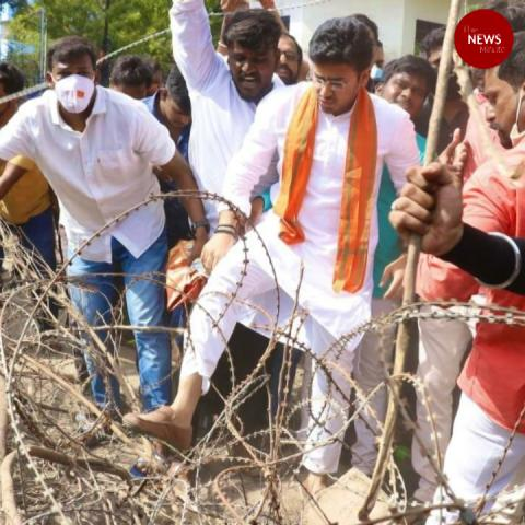 Hyderabad police Vs BJP Youth wing at Hyderabad's Osmania University