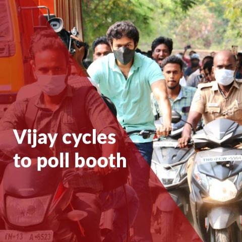 Actor Vijay cycles to TN polling booth to cast his vote