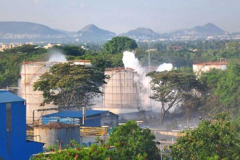 Gas leaks from an LG Polymer plant in Visakhapatnam