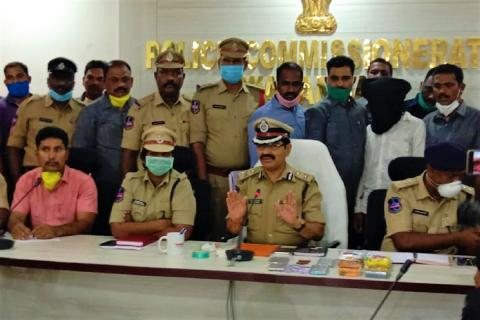Warangal police address a press meet