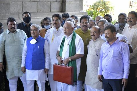 CM Yediyurappa and his Cabinet Ministers heading to Assembly to present budget