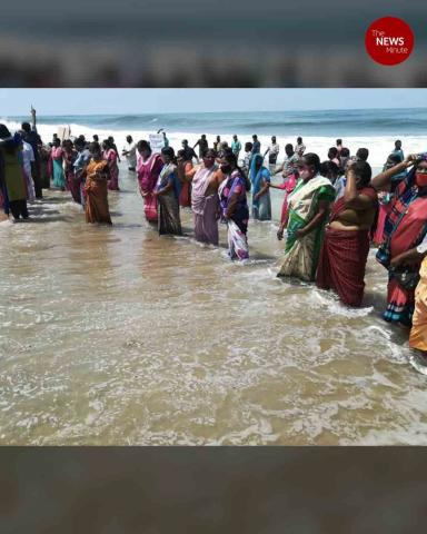 Women of Kerala's Chellanam stand in sea as protest for seawall enters 333rd day