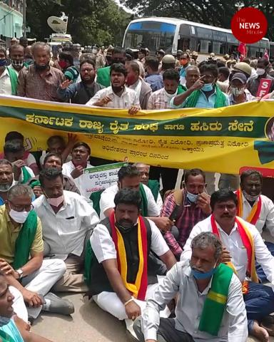 Farmer groups protest in Bengaluru ahead of Karnataka bandh on Monday