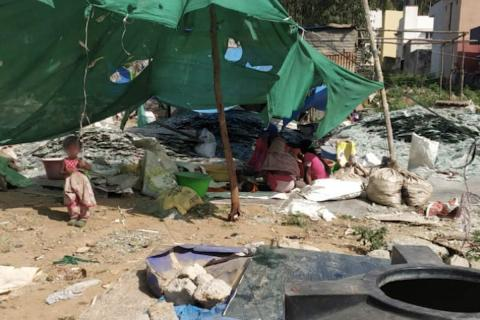 The illegal glass recycling unit in Hennur that has troubled residents of the vicinity