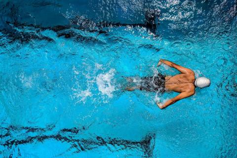 Person swimming in a blue swimming pool