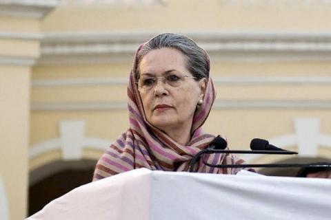 Sonia Gandhi looking right