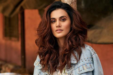 Taapsee Pannu in a denim jacket and open hair