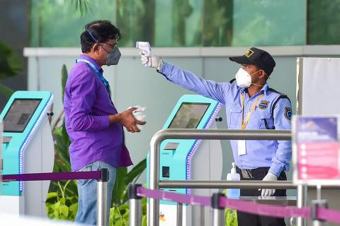 Temperature screening at Bangalore Airport