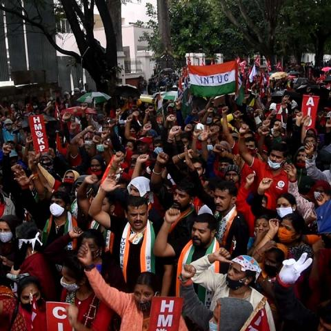 Trade union workers in Bengaluru join nationwide strike against Union govt's policies