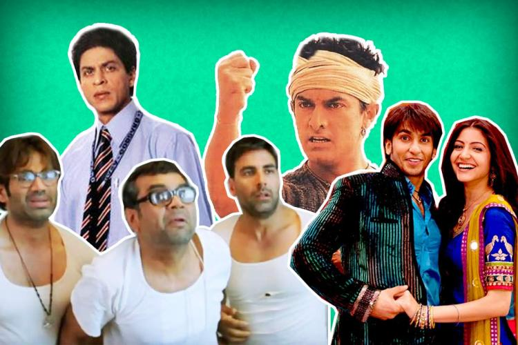 A collage of Bollywood actors.
