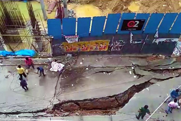 Bengaluru road collapses after heavy rains but a builder may be to blame too