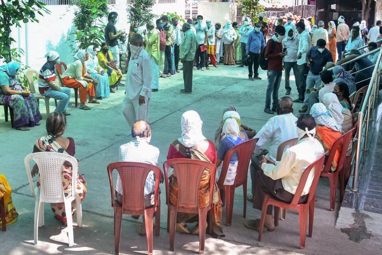 PTI photo of a vaccination center in Amaravati