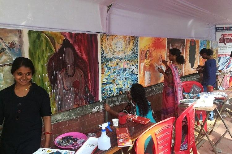 Another womens wall this one filled with art 30 women paint renaissance in Kerala