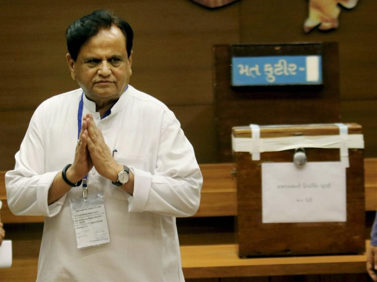 A file photo of Congress leader Ahmed Patel in a white kurta pyjama where he can be seen folding his hands