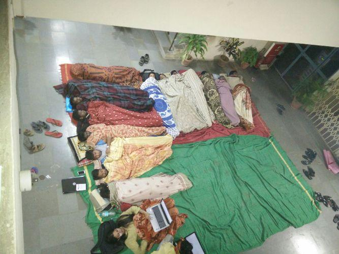 Hyderabad varsity students sleep in admin wing to protest against suspension of Dalit students