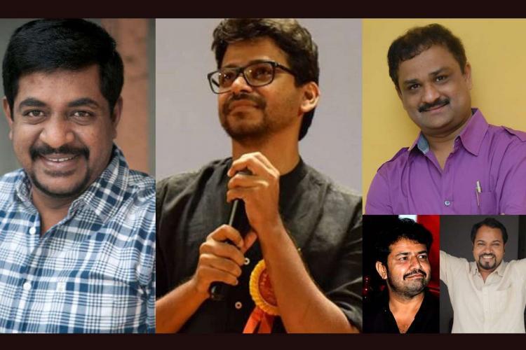 A collage of directors Yogaraj Bhat KM Chaitanya Shashank Jayatheertha and Pawan Kumar