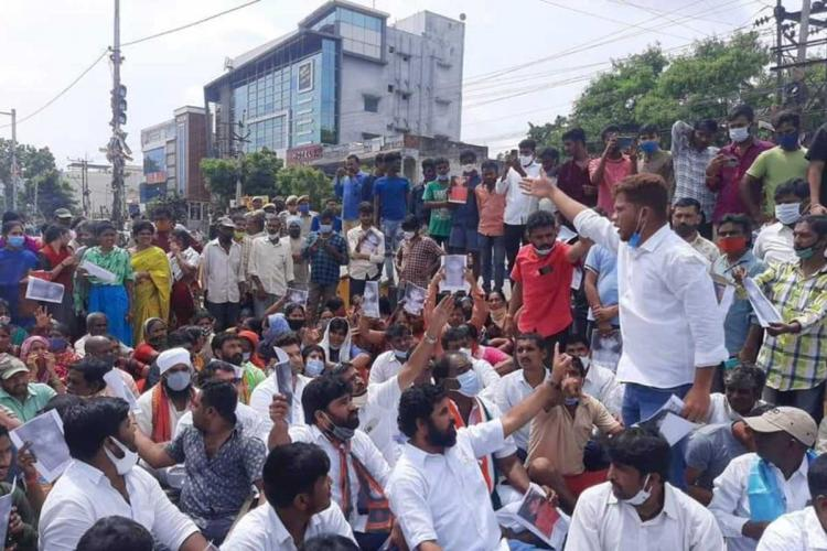 Residents and youth associations staging protest in Hyderabad