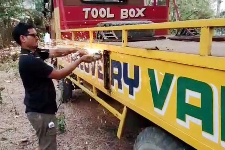 Video Andhra police seize 800 kg of ganja from hidden cabin in van