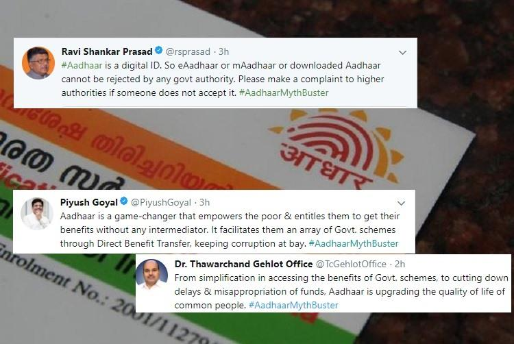 As SC hears Aadhaar case govt ups ante with myth buster tweets