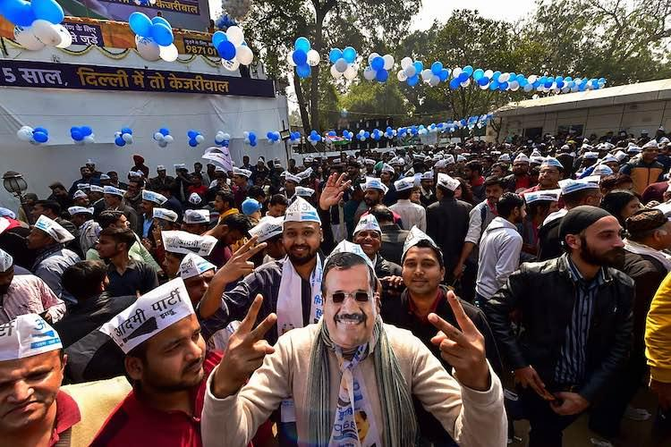 AAP workers celebrate as party sweeps Delhi Assembly Elections 2020