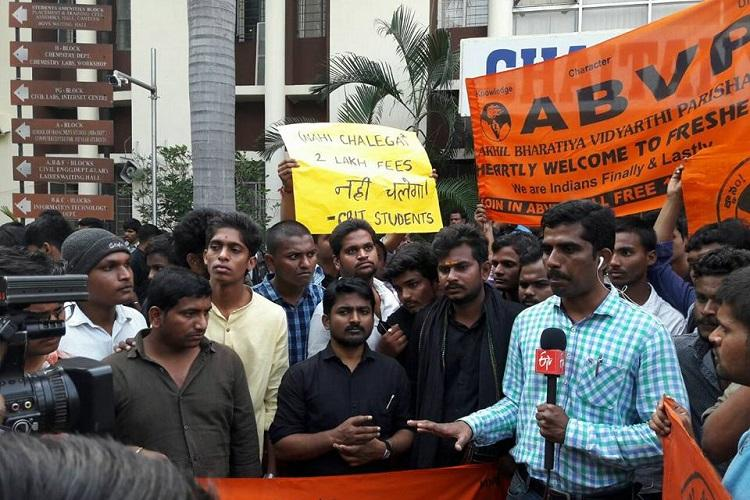 Protest against CBIT fee hike continues Nine students detained in Hyderabad