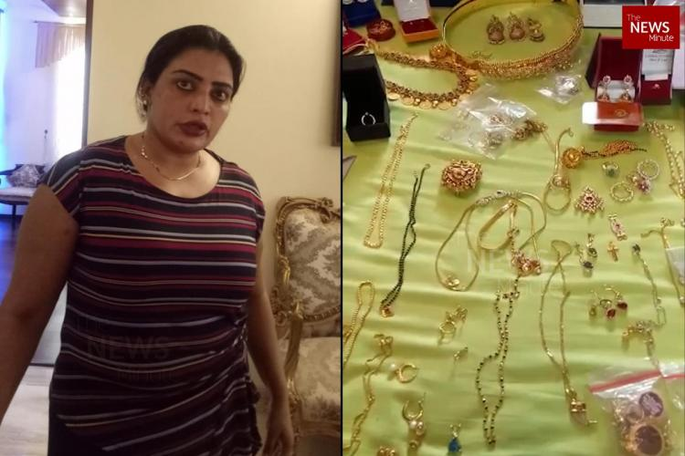 KAS officer Dr B Sudha at her home during ACB raids On the right is the gold seized at her house