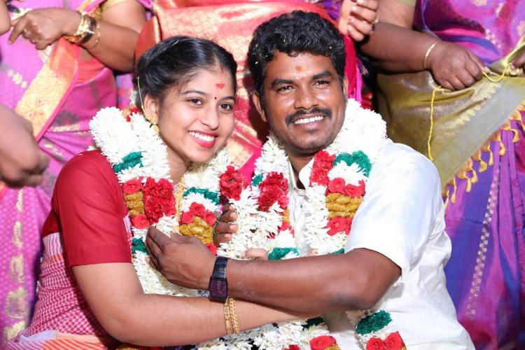 MLA Prabhu and his wife Soundharya on the day of their marriage