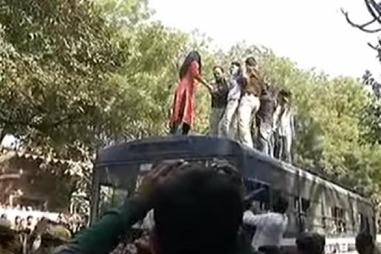 ABVP and AISA members clash after JNU student Umar Khalids speech cancelled at Delhi college