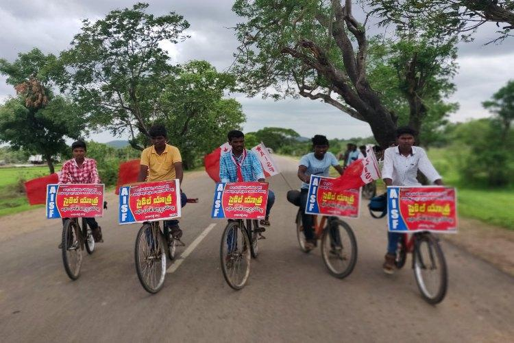 To highlight state of education students take up cycle tour in Telangana district